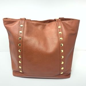 Hammitt Cognac Brown Leather Tote w Gold Studs